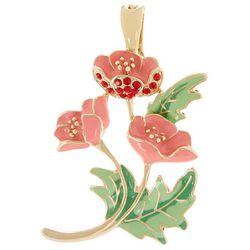 Pink Enamel Flower Cluster Pendant
