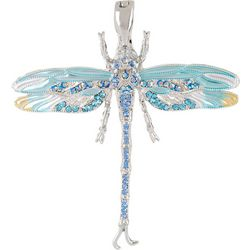 Wearable Art By Roman Rhinestone & Enamel Dragonfly Pendant