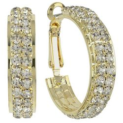 Roman Wide Gold Tone Crystal Hoop Earrings