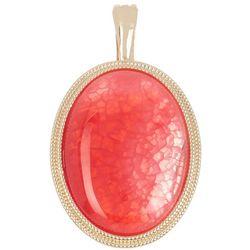 Wearable Art By Roman Faux Coral Oval Pendant