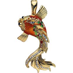 Wearable Art By Roman Orange Koi Fish Pendant