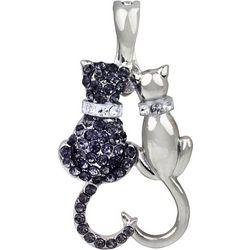 By Roman Loving Cats Rhinestone Pendant