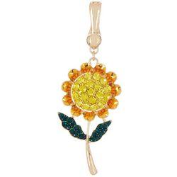 Wearable Art By Roman Gold Tone Sunflower Pendant