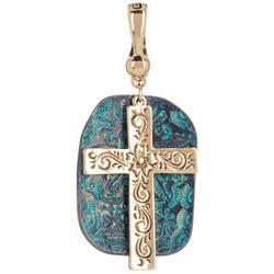 By Roman Cross & Stone Pendant