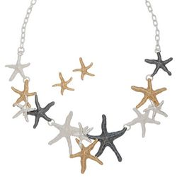 Elsie& Zoey Tri-Tone Starfish Earring & Necklace Set