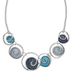 ELSIE & ZOEY Silvertone Waves Frontal Necklace