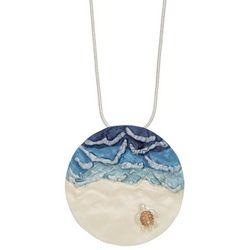 ELSIE & ZOEY Silvertone Ocean Sea Turtle Necklace