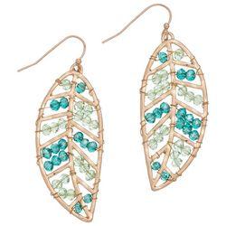 Elsie & Zoey Beaded Leaf Earrings