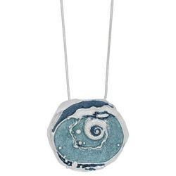 ELSIE & ZOEY Silvertone Wave Pendant Necklace