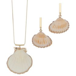ELSIE & ZOEY Gold Tone Dip Shell Earring & Necklace Set