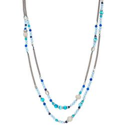 ELSIE & ZOEY Silvertone Aqua Beaded 2-Row Necklace