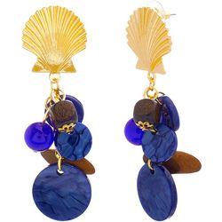 Bay Studio Blue Resin & Wood Bead Cluster Earrings