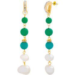 Bay Studio Long Green Bead & Pearl Linear Earrings