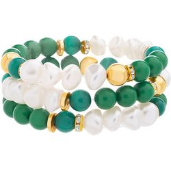 Bay Studio 3 Pc Green Bead & Pearl Bracelet Set