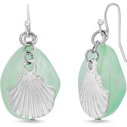 Bay Studio Green Bead & Silver Tone Shell Earrings