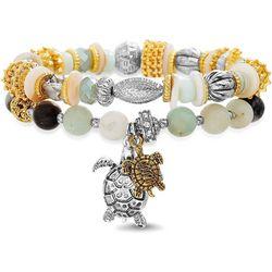Bay Studio Two Tone Sea Turtle Charm Beaded Bracelet Set