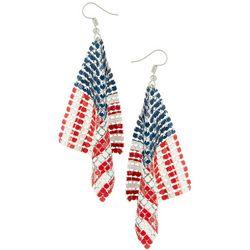 Bay Studio USA Flag Mesh Metal Dangle Earrings