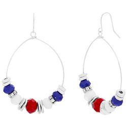 Bay Studio Red White Blue Beaded Hoop Earrings