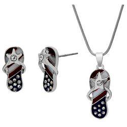 Bay Studio Americana Flip Flop Earring & Necklace Set
