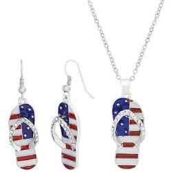 Bay Studio Patriotic Flip Flop Necklace Set
