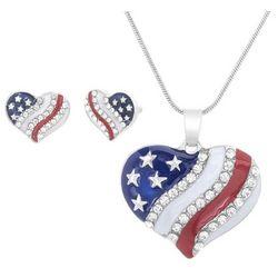 Bay Studio Patriotic Heart Earring & Necklace Set