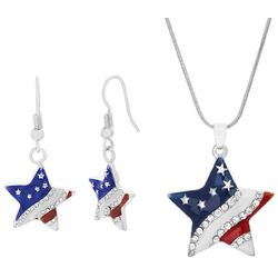 Bay Studio Patriotic Star Earring & Necklace Set