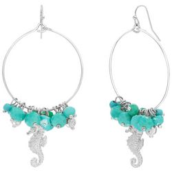 Bay Studio Bead Cluster Seahorse Hoop Drop Earrings
