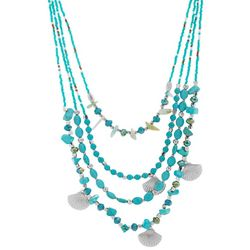 Bay Studio 4 Row Bead & Shell Charm Necklace
