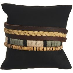 Mens 3-pc. Brown Multi Leather Bracelet Set