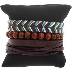 Mens 3-pc. Wood Beads & Brown Cord Bracelet Set