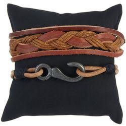 Mens 2-pc. Hook & Braided Bracelet Set