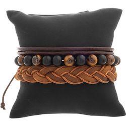 Mens 3-pc. Braided & Tiger Eye Bracelet Set