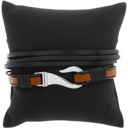 Mens 2-pc. Hook & Black Bracelet Set