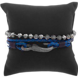 Mens 2-pc. Beaded & Blue Braided Bracelet Set