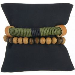 Mens 2-pc. Wood Bead & Wrapped Bracelet