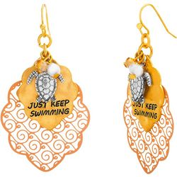 Bay Studio Tri Tone Filigree & Turtle Earrings