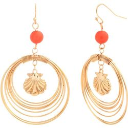 Bay Studio Gold Tone Shell Multi-Row Hoop Earrings