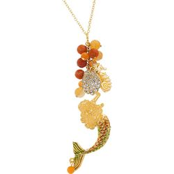 Bay Studio Coral Orange Bead & Mermaid Tassel Necklace