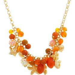 Bay Studio Gold Tone & Coral Pink Sealife Charms Necklace