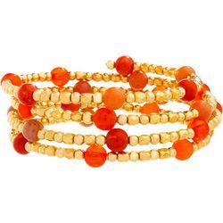 Bay Studio Coral Pink & Gold Tone Beaded Coil Wrap Bracelet
