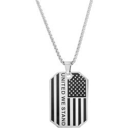 1913 Mens United We Stand American Flag Necklace