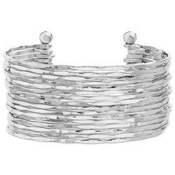 Bay Studio Multi Row Silver Tone Open Cuff Bracelet