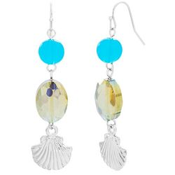 Bay Studio Triple Bead & Silver Tone Shell Drop Earrings