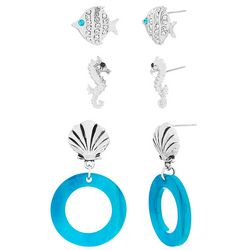 Bay Studio 3-pc. Fish & Seahorse Earring Set