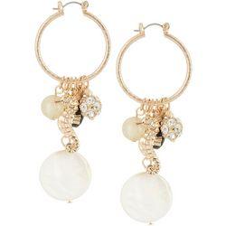 Bay Studio Seahorse Shell Bead Cluster Hoop Earrings