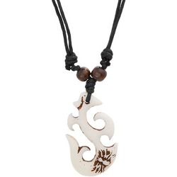 Maori Hook Mens Spider White Hook Pendant Necklace