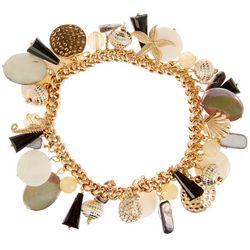 Bay Studio Coastal Black White Shell Stretch Bracelet