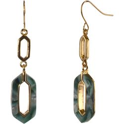 MAX STUDIO Green Marble Double Geo Drop Earrings