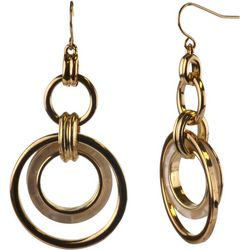 MAX STUDIO White & Gold Tone Multi Ring Earrings