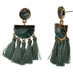 MAX STUDIO Green Resin & Fringe Statement Earrings